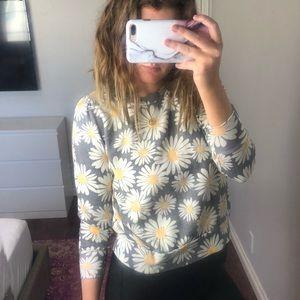 Wildfox Daisy Cropped Crew Neck Sweatshirt